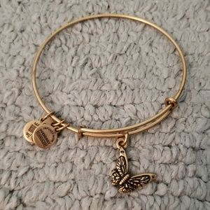 Gold Alex and ani butterfly bangle